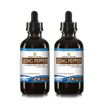 Secrets Of The Tribe Long Pepper Tincture Alcohol-FREE Extract, Organic Long Pepper (Piper Longum) Dried Pepper 2x4 oz