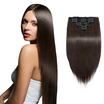 Cheap SYN Hair Extensions 22 Inches Dark Brown Clip in Hair Extensions/Clip on Extensions Full Head Synthetic Hairpieces for Women 16 Hair Clips 7pcs (#2)