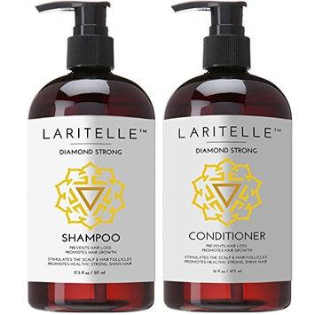 Laritelle Organic Shampoo 17 oz + Conditioner 16 oz | Prevents Hair Loss, Promotes Hair Growth | Argan Oil, Rosemary, Ginger & Cedarwood | NO GMO, Sulfates, Gluten, Alcohol, Parabens, Phthalates [Diamond Strong]
