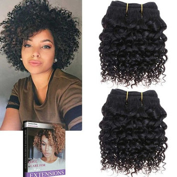 Emmet 2pcs/lot 100g Short Wave 8Inch Brazilian Kinky Curly Human Hair Extension, with Hair Care Ebook