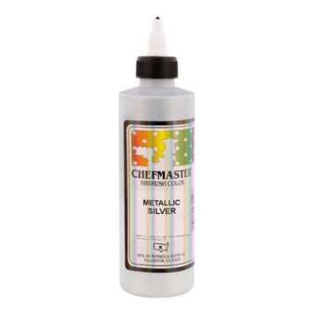 Chefmaster 9-Ounce Metallic Silver Airbrush Cake Decorating Food Color