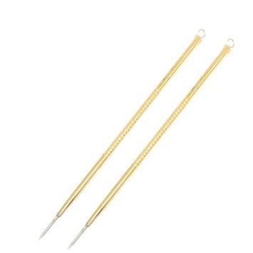 2 Pcs Facial Blackhead Extractor Acne Remover Needle Gold Tone 4.9