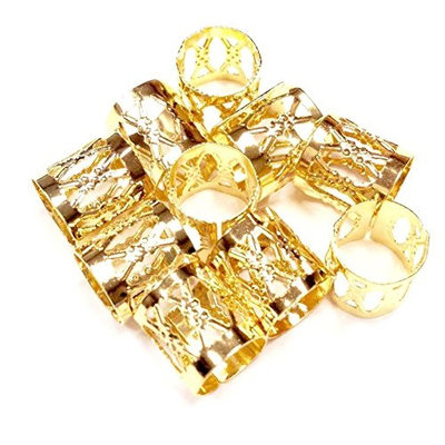 12 pc Gold dreadlock Beads dread hair braid adjustable cuff tube clip 8mm