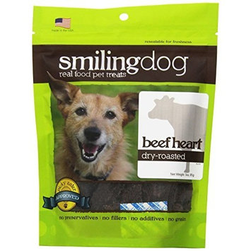 Herbsmith Smiling Dog Treats – Gluten, Grain Free – Made in US [Beef Heart, Dry Roasted]