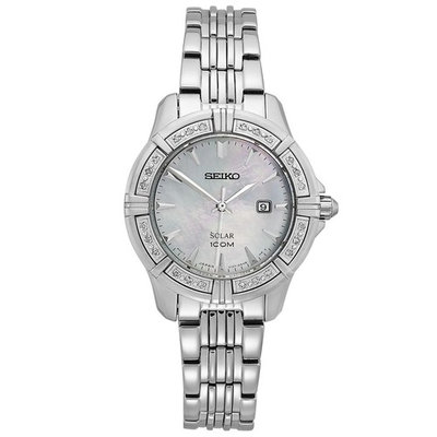 Seiko SUT071 Women's Diamond Solar Stainless Steel Bracelet White MOP Dial Watch