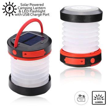Indigi® Collapsible Solar LED 65 Lumen Camping Lantern Emergency USB Port and Solar Chargeable - 1800mAh Capacity