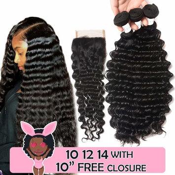 Brazilian Human Hair Deep Wave 3 Bundles 100 Unprocessed Virgin Brazilian Deep Curly Hair Weave Human Hair Brazilian Deep Wave Bundles With Closure Natural Color (10 12 14 and 10 Closure)