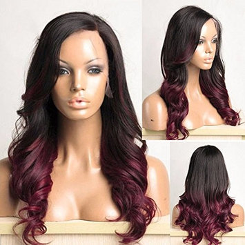 RosesAngel 1B/Burgundy Ombre Lace Wig for Black Women Brazilian Side Part Body Wave Lace Front Wig Glueless Human Hair Wig 16