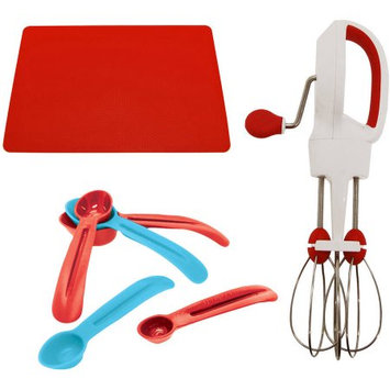 Starfrit Super-Fast Egg Beater, Snap Fit Measuring Spoons and Red Cooking Mat