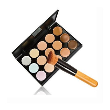 Tinksky 15 Colors Contour Face Cream Makeup Concealer Palette with Powder Brush
