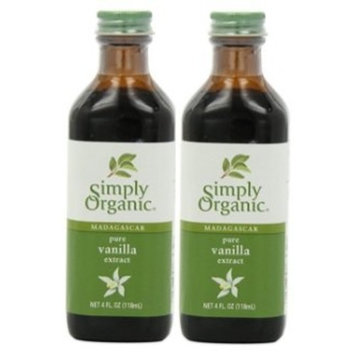 Simply Organic Pure Vanilla Extract, Certified Organic, 4-Ounce Glass Bottle (2 Pack)