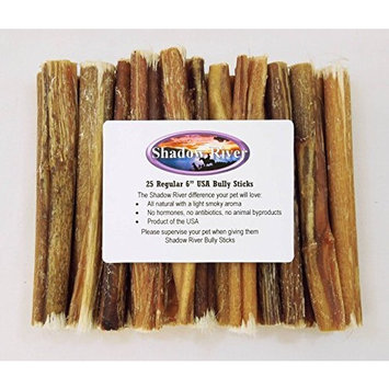 25 Pack 6 Inch Regular Bully Sticks by Shadow River - Product of the USA