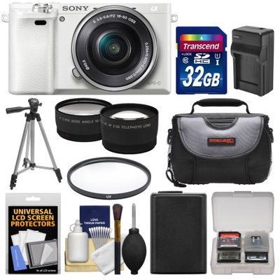 Sony Alpha A6000 Wi-Fi Digital Camera & 16-50mm Lens (White) with 32GB Card + Case + Battery/Charger + Tripod + Filter + Tele/Wide Lens Kit
