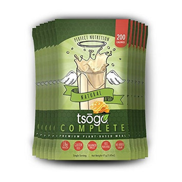 Tsogo Complete 12 Pack, Natural Flavor (Honey, Soy Free, Gluten Free & Dairy Free, High Fiber & Protein, Low Calories & Carbs, Meal Replacement Shake, Only 200cal/serv-12 Single Servings)