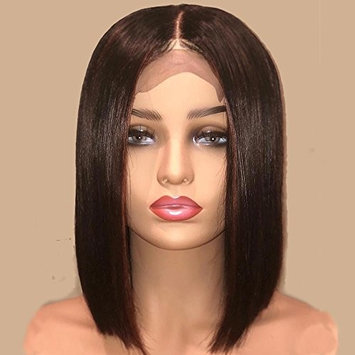 AllHairz Bob Haircut Style Lace Front Wigs Human Hair for Black Women Brazilian Virgin Human Hair Short Wigs 150 Density Slightly Bleached Knots Straight Glueless Lace Wig