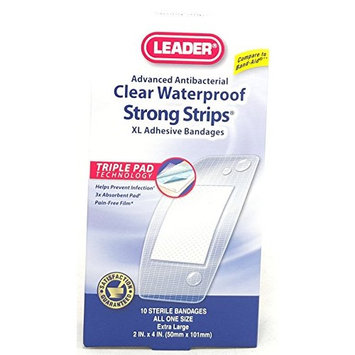 Leader Antibacterial Waterproof StrongStrips Adhesive Bandages, XL, 10 Count Per Box