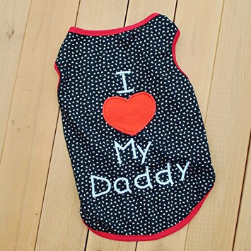 Summer Apparel Puppy Dog dog pet clothes i love my daddy dots print vest sleeveless dog t-shirts apparel [purple, M]
