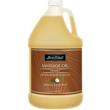 Bon Vital' Coconut Massage Oil Made with 100% Pure Fractionated Coconut Oil to Repair Dry Skin, Used by Massage Therapists and At-Home Use for Therapeutic Massages and Relaxation, 1 Gallon Bottle [Coconut]