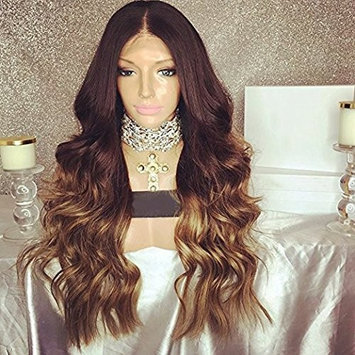 Wicca human hair long brown wig 1b/30# pervian body wave ombre full lace front wig with baby hair