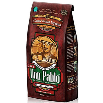 Cafe Don Pablo Gourmet Coffee - Classic Italian Espresso - Dark Roast - Whole Bean Coffee - 2 Pound Bag