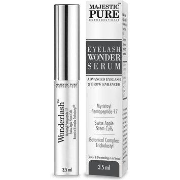 Eyelash Growth Serum From Majestic Pure - Myristoyl Pentapeptide-17 & Swiss Apple Stem Cells Based Formula Promotes Thicker & Longer Eyelashes and Eyebrows - 3.5ml