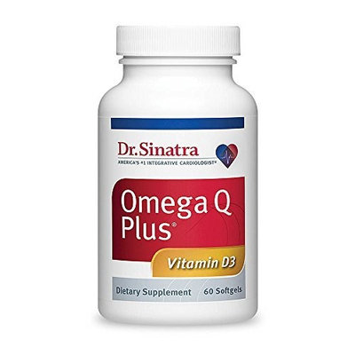 Dr. Sinatra's Omega Q Plus with Vitamin D3 - Heart Health Supplement for Strengthening Bones and Boosting Immune Health, 60 softgels (30-day supply)