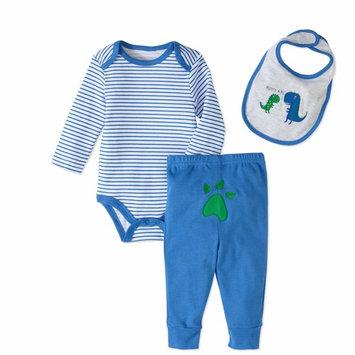 born Baby Boy Bodysuit, Bib and Turn-Me-Round Pants, 3pc Set