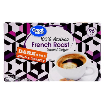 Great Value French Roast Ground Coffee Single Serve Cups, Dark Roast, 96 Count
