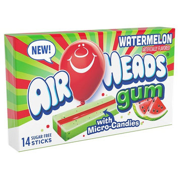 AirHeads Candy Sugar-Free Chewing Gum with Xylitol, Watermelon, 14 Stick Pack (Bulk Pack of 12)
