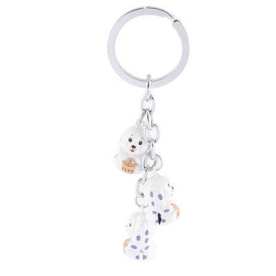 Silver Tone White 3 Dangling Dog Style Bells Ring Key Holder Keychain Keyring