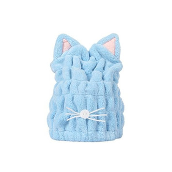 Frcolor Hair Drying Towels, Cat Ear Water Absorption Fast Drying Thicken Hair Cap (Blue)