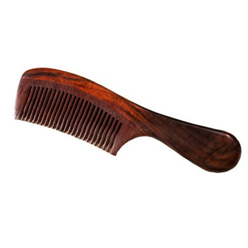Natural Redwood Hair Comb, No Static Handmade Medium Tooth Hair Comb, Smooth and Comfortable Message Wood Comb with Handle 19cm