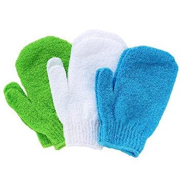 Buddha Bath Scrub Gloves - 3 pairs of exfoliating shower mitts - Washable - Hang Rope - Full body use