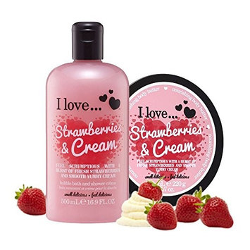 I Love… Strawberries & Cream Shower Gel and Body Butter Duo Pack