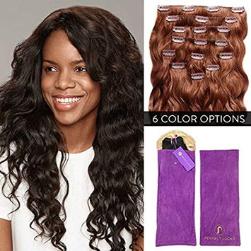 Premium Wavy Clip In Hair Extensions Set by Perfect Locks   Add Volume with 100% Remy Human Hair 7 Piece Clip On Set   18 Inch Clip Ins   #33 Dark Auburn   140 grams per set