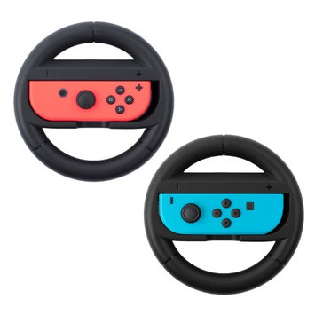 Insten Black Joy-Con Protective Racing Steering Wheel Controller Wear Resistant Handle Grip for Nintendo Switch (Pack of 2)