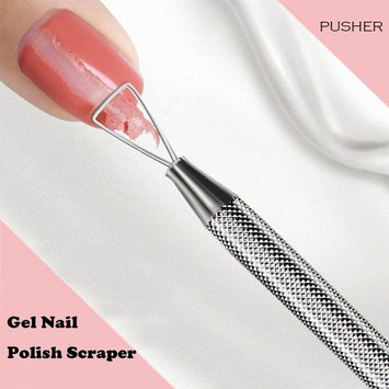 Nail Cuticle Pusher, Stainless Steel Nail Remover Nail Cleaner, Gel Nail Polish Scraper Tool (including a nail file)
