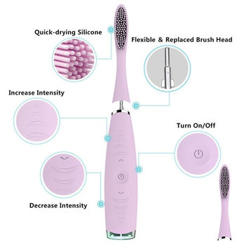 Pink Silicone Sonic Electric Electronic Toothbrush Waterproof Deep Clean Teeth Whitening Electric Teeth Brush USB Rechargeable Oral Health : Beauty
