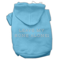 Mirage Pet Products Leave My Bone Alone! Hoodies, Baby Blue, Size 10