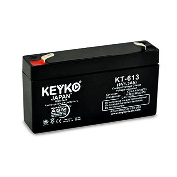 KEYKO Genuine KT-613 6V 1.2Ah / Real 1.3Ah Battery SLA Sealed Lead Acid / AGM Replacement - F0 Terminal - 2 Pack [2]