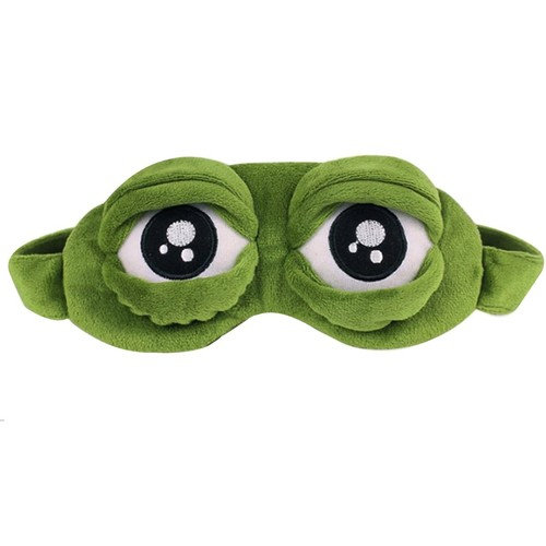 Aisa 3D Frog Cute Cartoon Design Sleeping Eye Blinder Travel Office Snap Soft Plush Eye Mask Green