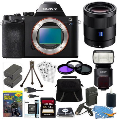 Sony ILCE-7S/B a7S Full Frame Camera, 55mm Lens, 64GB Card, 2 Batteries, Flash Bundle