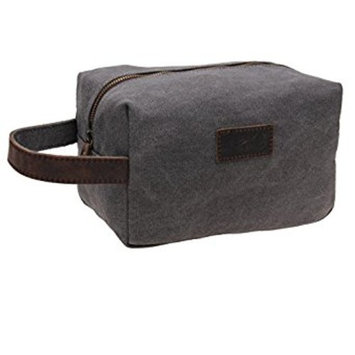 Patty Both Canvas Shaving Dopp Kit Leather Travel Toiletry Bag 9.8in