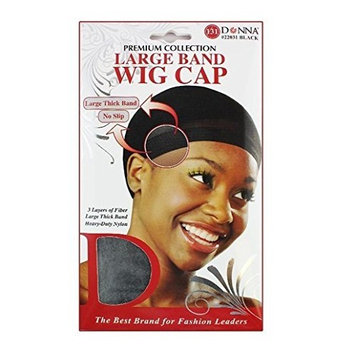 Donna's Premium Large Band Wig Cap 3 Layers of Fiber Large Thick Band (Black)
