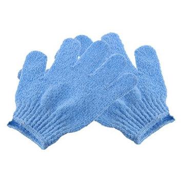 ROSENICE Bath Gloves Shower Exfoliating Nylon Shower Gloves Body Scrub 2pcs (Blue)
