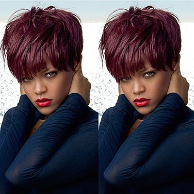 100% Human Hair Lace Front Wig Short Pixie Cut Bob Wig Brazilian Virgin Hair None Lace Wig 99J Machine Made Wigs for Black Women 130% Density