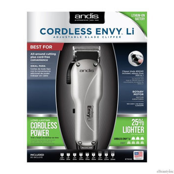 Andis Envy Li Cordless Adjustable Blade Hair Clipper w/ 9 Attachment #73000