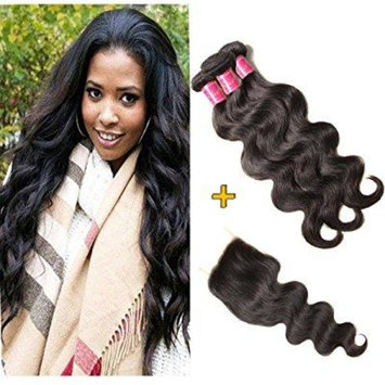 ALI JULIA 12 14 16+12 Inch Brazilian Body Wave Hair 3 Bundles with 1PC 4*4 Free Part Lace Closure 100% Unprocessed Human Hair Weave Extensions Natural Color