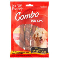 Pet Factory Combo Wraps Porkhide Twist Rolls Wrapped w/ Duck Jerky, 6in 4ct