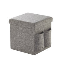 Idea Nuova Urban Shop Pocket Folding Storage Ottoman, Grey Linen